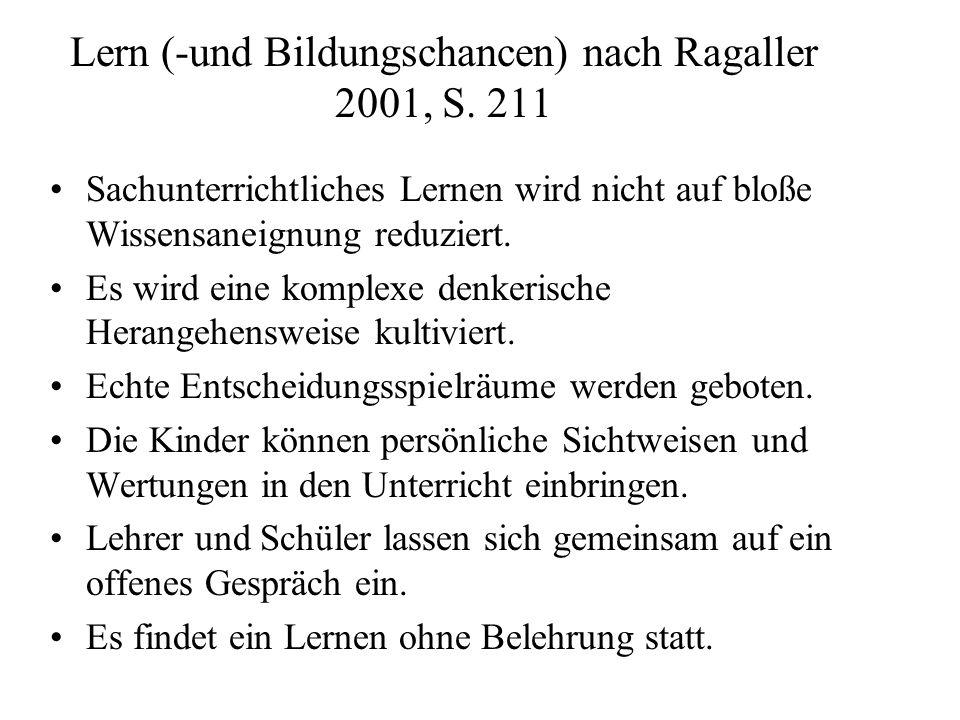 Lern (-und Bildungschancen) nach Ragaller 2001, S. 211