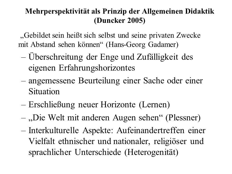 Mehrperspektivität als Prinzip der Allgemeinen Didaktik (Duncker 2005)