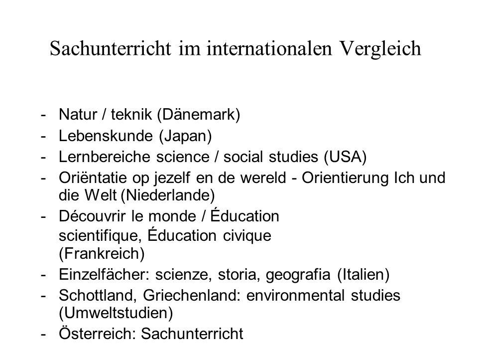 Sachunterricht im internationalen Vergleich