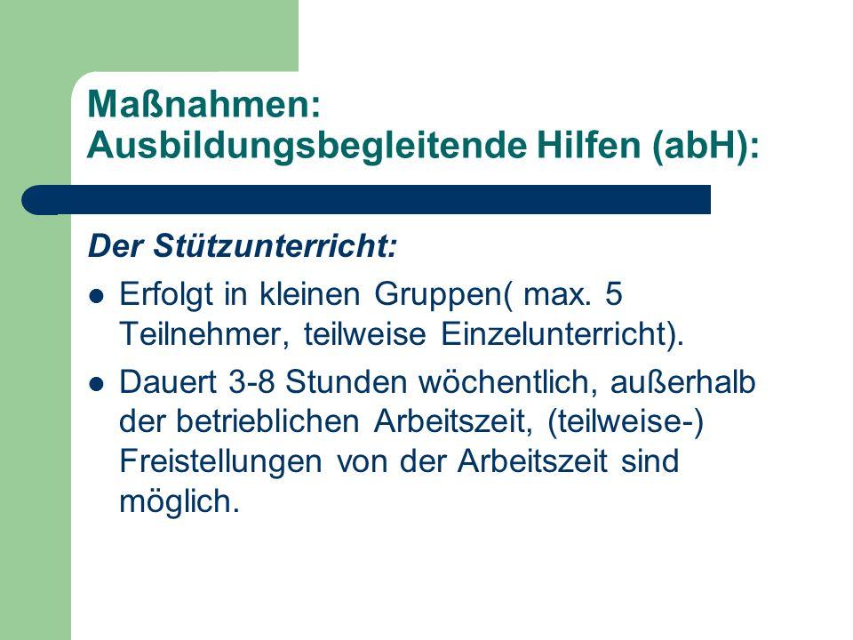Maßnahmen: Ausbildungsbegleitende Hilfen (abH):