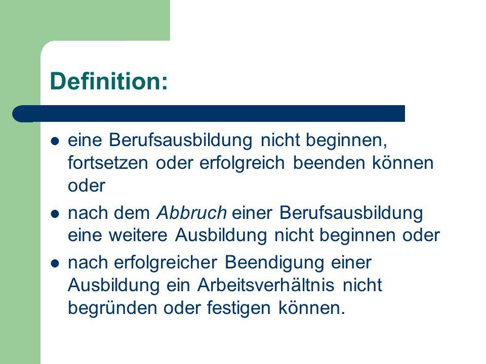 Definition: eine Berufsausbildung nicht beginnen, fortsetzen oder erfolgreich beenden können oder.