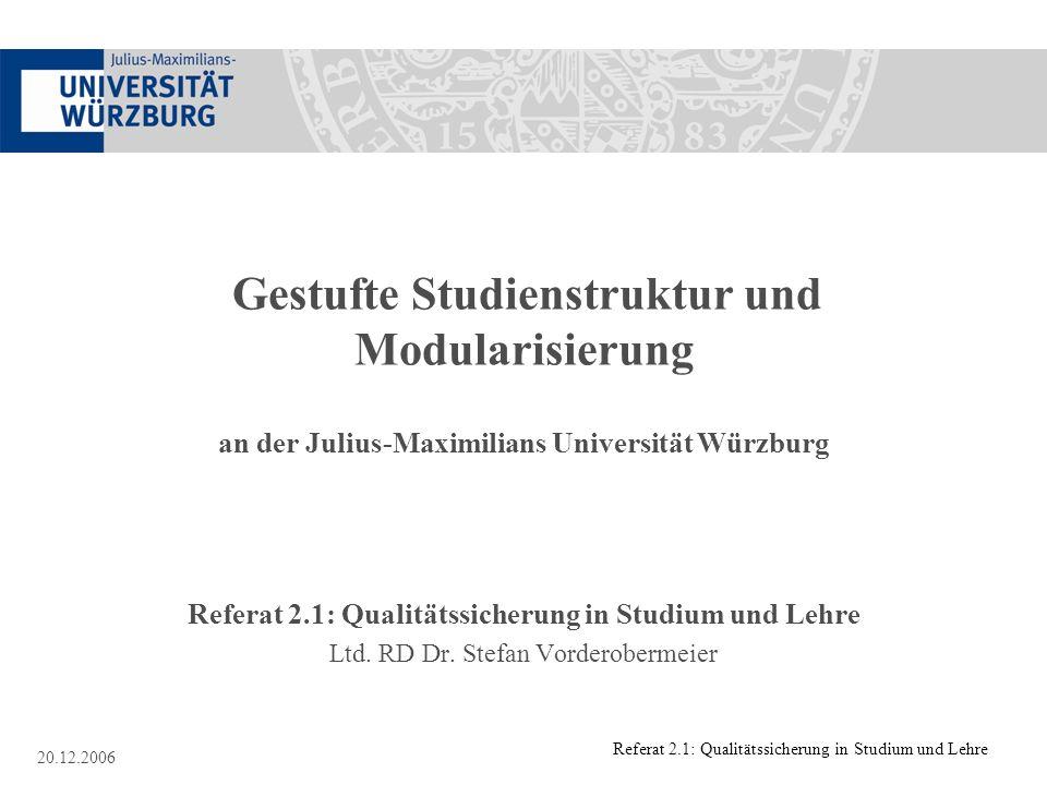 Referat 2.1: Qualitätssicherung in Studium und Lehre
