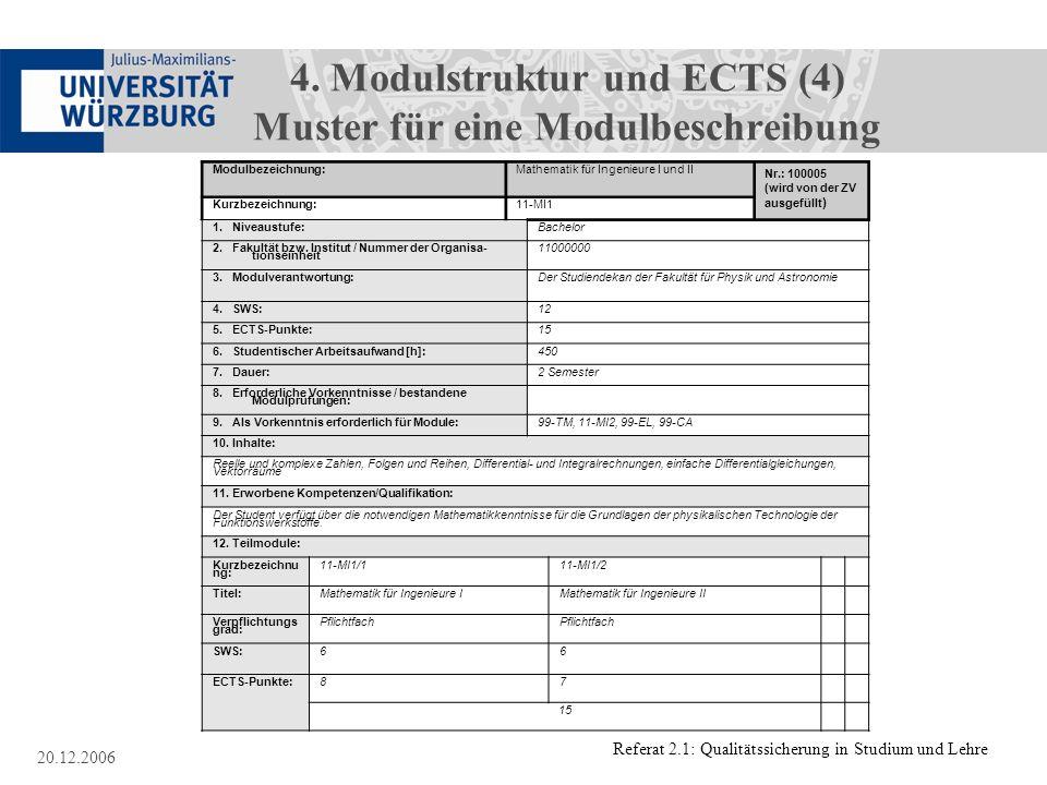 4. Modulstruktur und ECTS (4) Muster für eine Modulbeschreibung