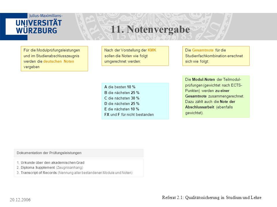 11. Notenvergabe Für die Modulprüfungsleistungen und im Studienabschlusszeugnis werden die deutschen Noten vergeben.