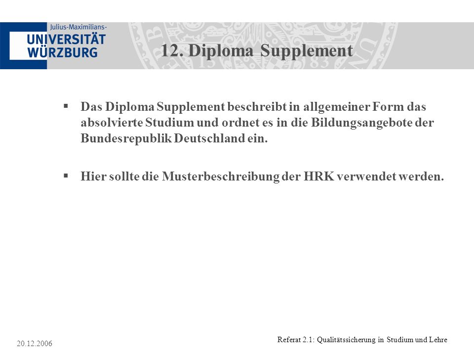 12. Diploma Supplement