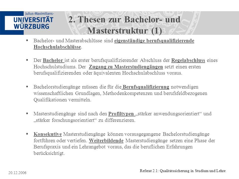 2. Thesen zur Bachelor- und Masterstruktur (1)