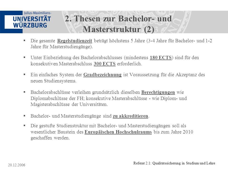 2. Thesen zur Bachelor- und Masterstruktur (2)