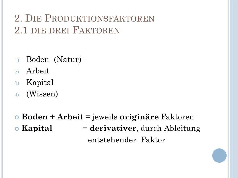 2. Die Produktionsfaktoren 2.1 die drei Faktoren