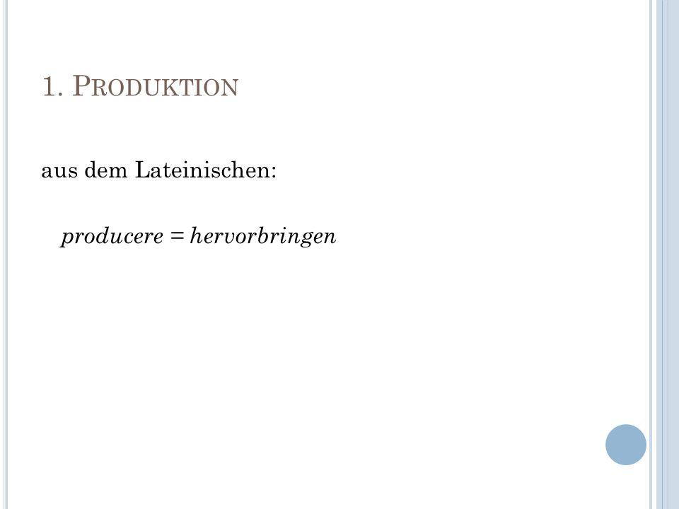 1. Produktion aus dem Lateinischen: producere = hervorbringen