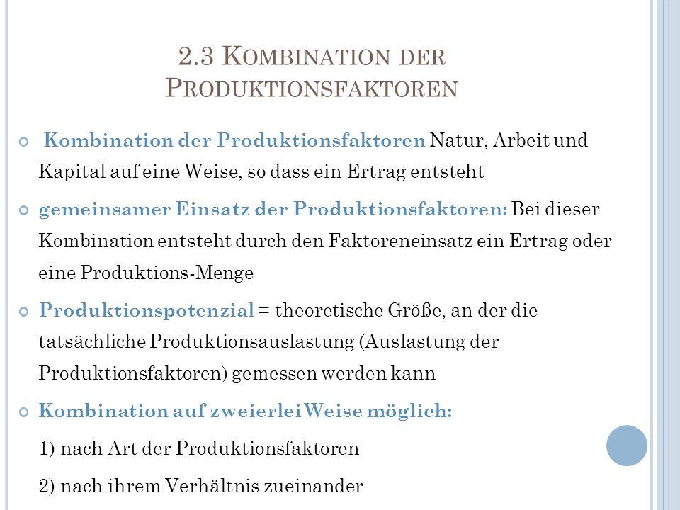 2.3 Kombination der Produktionsfaktoren