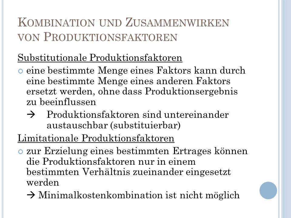 Kombination und Zusammenwirken von Produktionsfaktoren