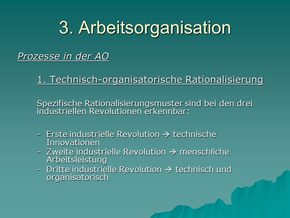 3. Arbeitsorganisation Prozesse in der AO