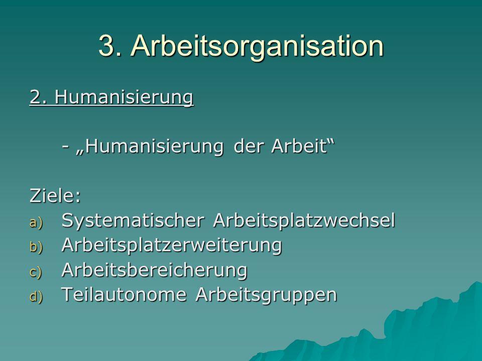 """3. Arbeitsorganisation 2. Humanisierung - """"Humanisierung der Arbeit"""