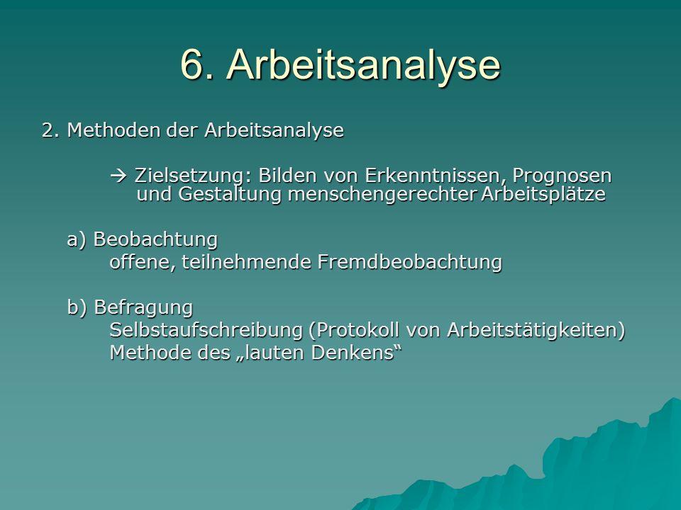 6. Arbeitsanalyse 2. Methoden der Arbeitsanalyse