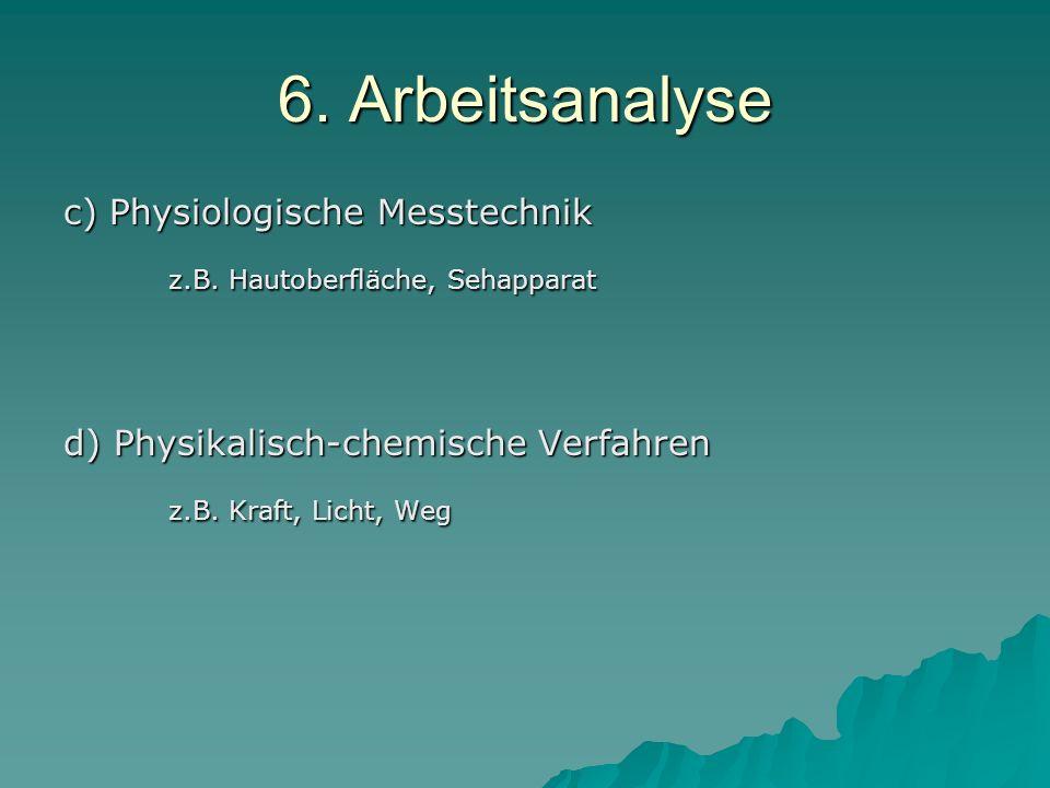 6. Arbeitsanalyse z.B. Hautoberfläche, Sehapparat