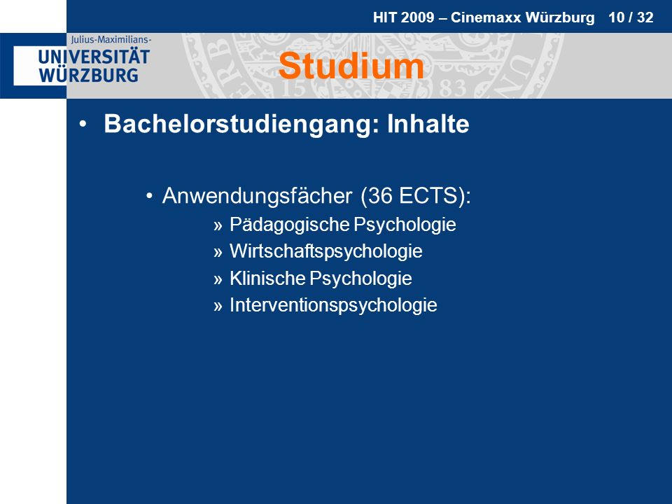 Studium Bachelorstudiengang: Inhalte Anwendungsfächer (36 ECTS):