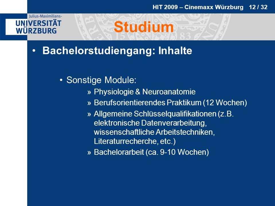 Studium Bachelorstudiengang: Inhalte Sonstige Module: