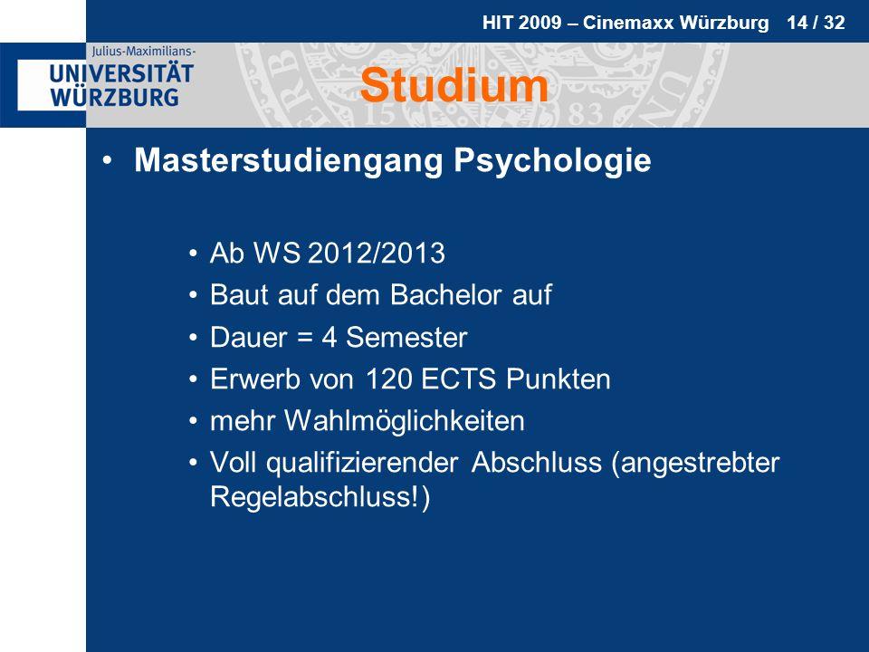 Studium Masterstudiengang Psychologie Ab WS 2012/2013