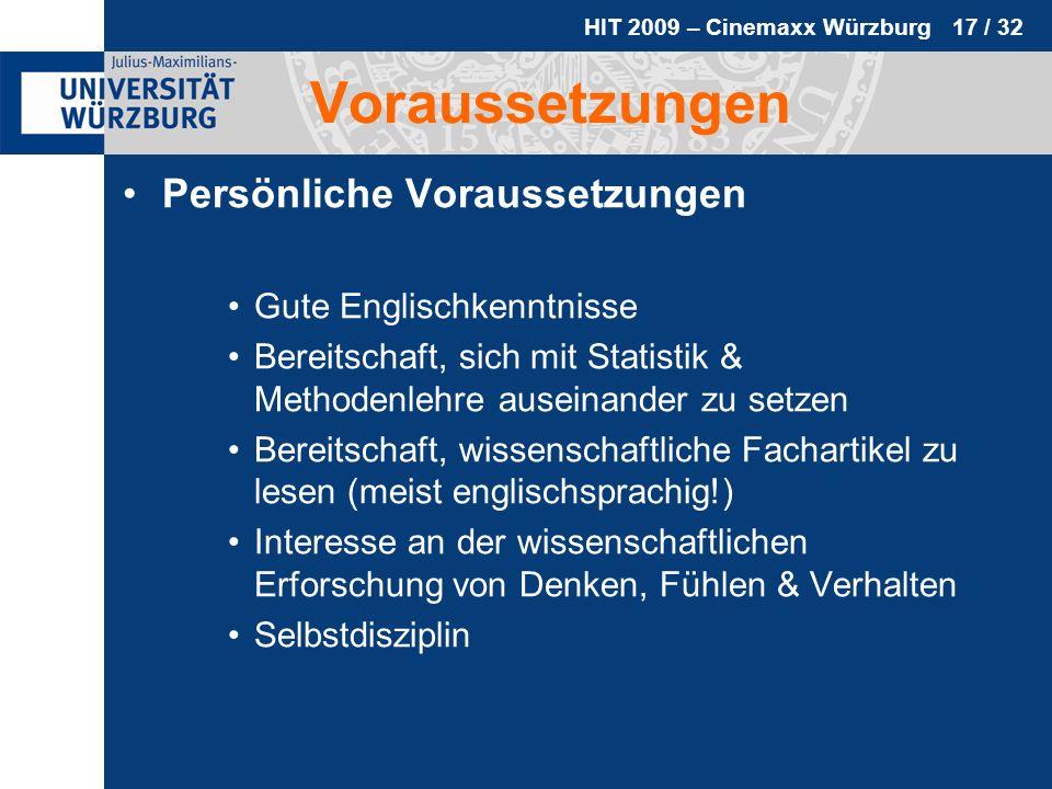 Voraussetzungen Persönliche Voraussetzungen Gute Englischkenntnisse