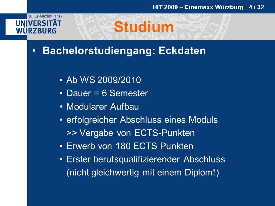Studium Bachelorstudiengang: Eckdaten Ab WS 2009/2010