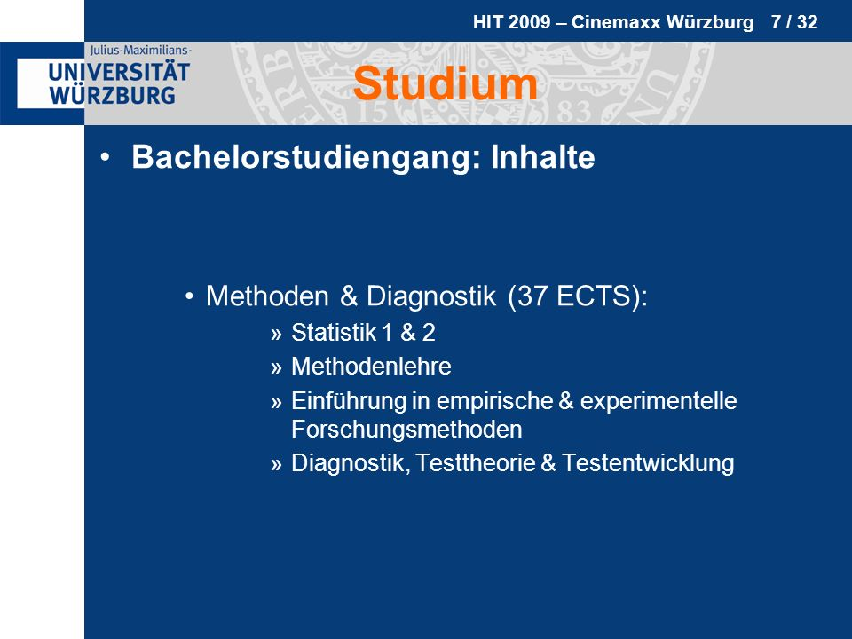 Studium Bachelorstudiengang: Inhalte Methoden & Diagnostik (37 ECTS):