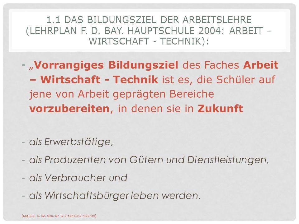 1. 1 Das Bildungsziel der Arbeitslehre (Lehrplan f. d. bay