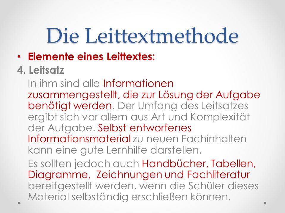 Die Leittextmethode Elemente eines Leittextes: 4. Leitsatz