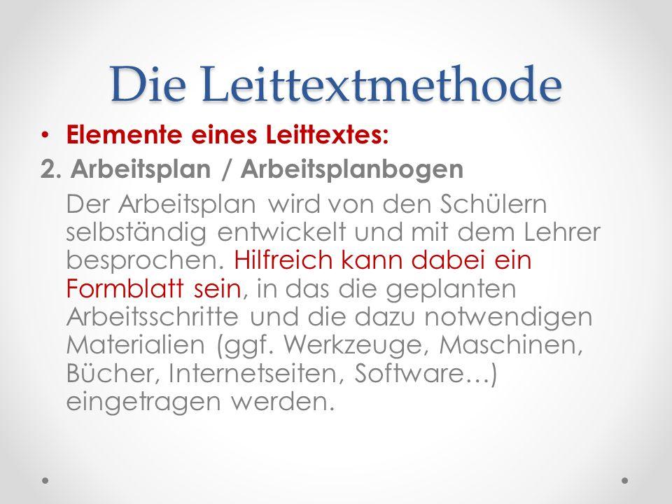Die Leittextmethode Elemente eines Leittextes: