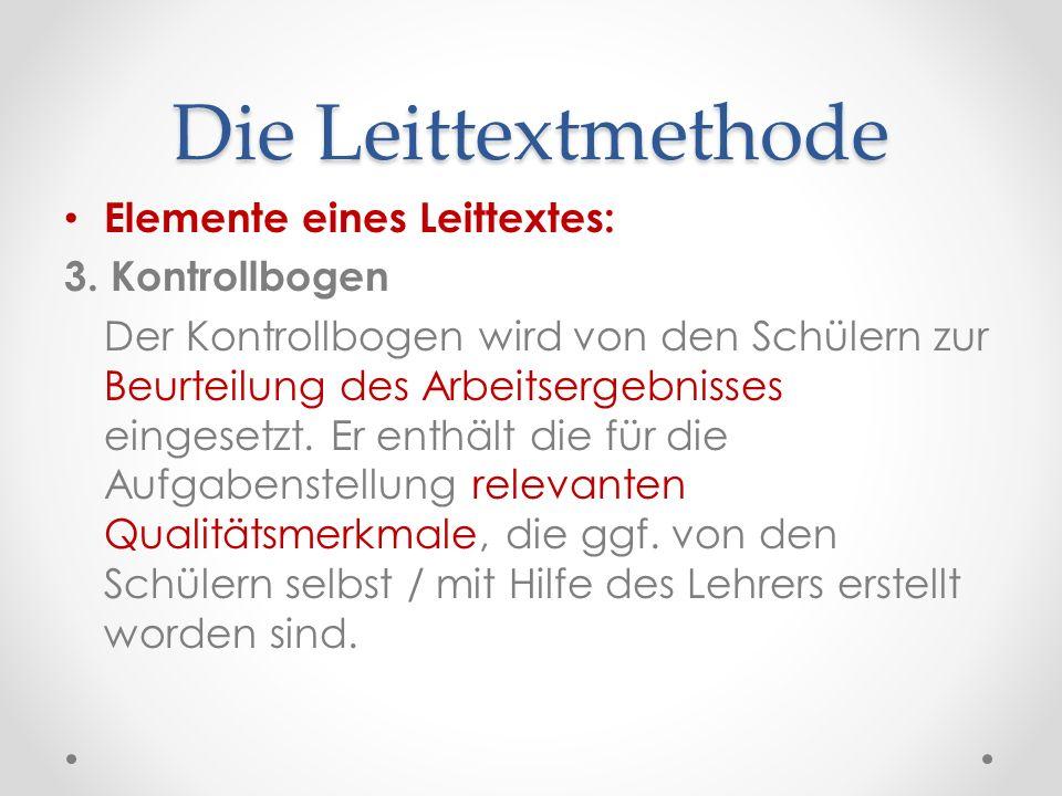 Die Leittextmethode Elemente eines Leittextes: 3. Kontrollbogen
