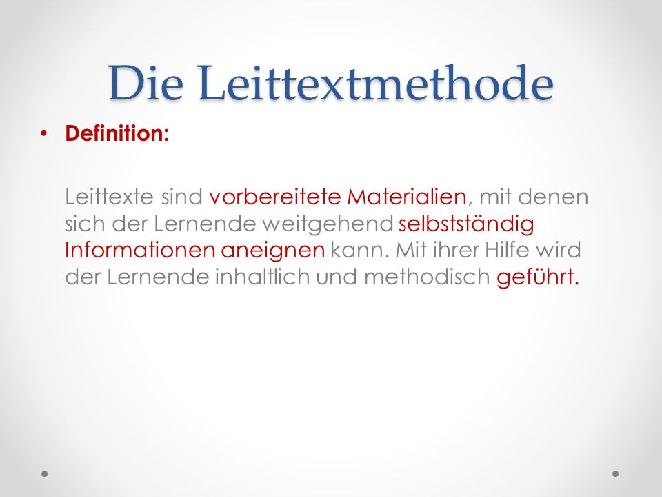Die Leittextmethode Definition:
