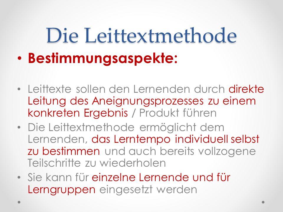 Die Leittextmethode Bestimmungsaspekte: