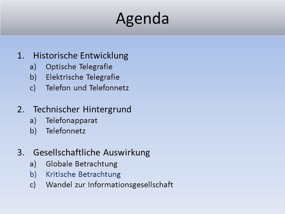 Agenda Historische Entwicklung Technischer Hintergrund