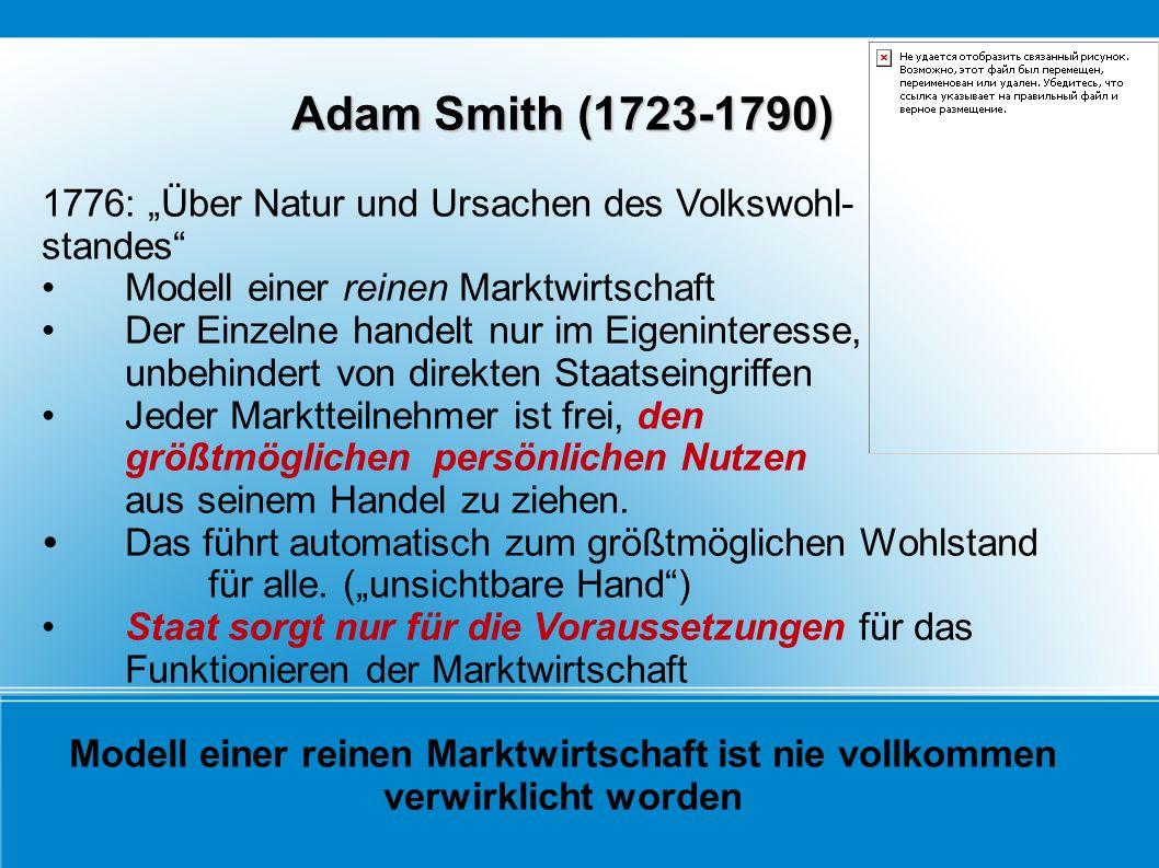 """Adam Smith (1723-1790) 1776: """"Über Natur und Ursachen des Volkswohl-"""
