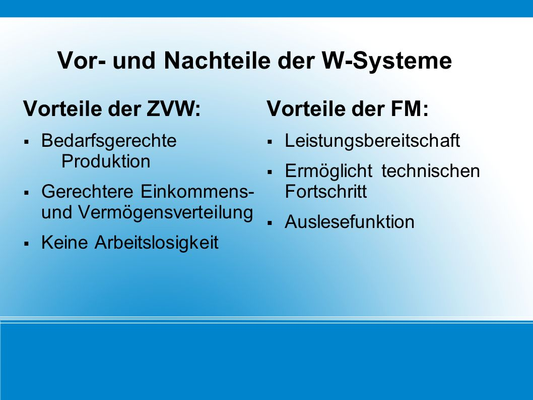 Vor- und Nachteile der W-Systeme