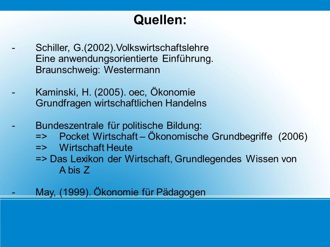 Quellen: - Schiller, G.(2002).Volkswirtschaftslehre