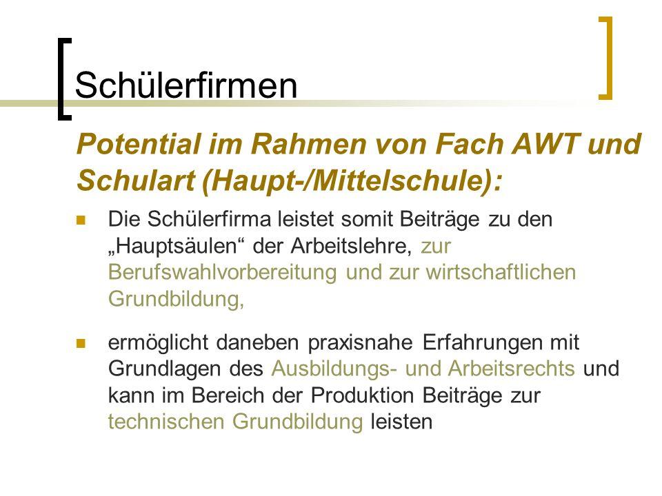 Schülerfirmen Potential im Rahmen von Fach AWT und Schulart (Haupt-/Mittelschule):
