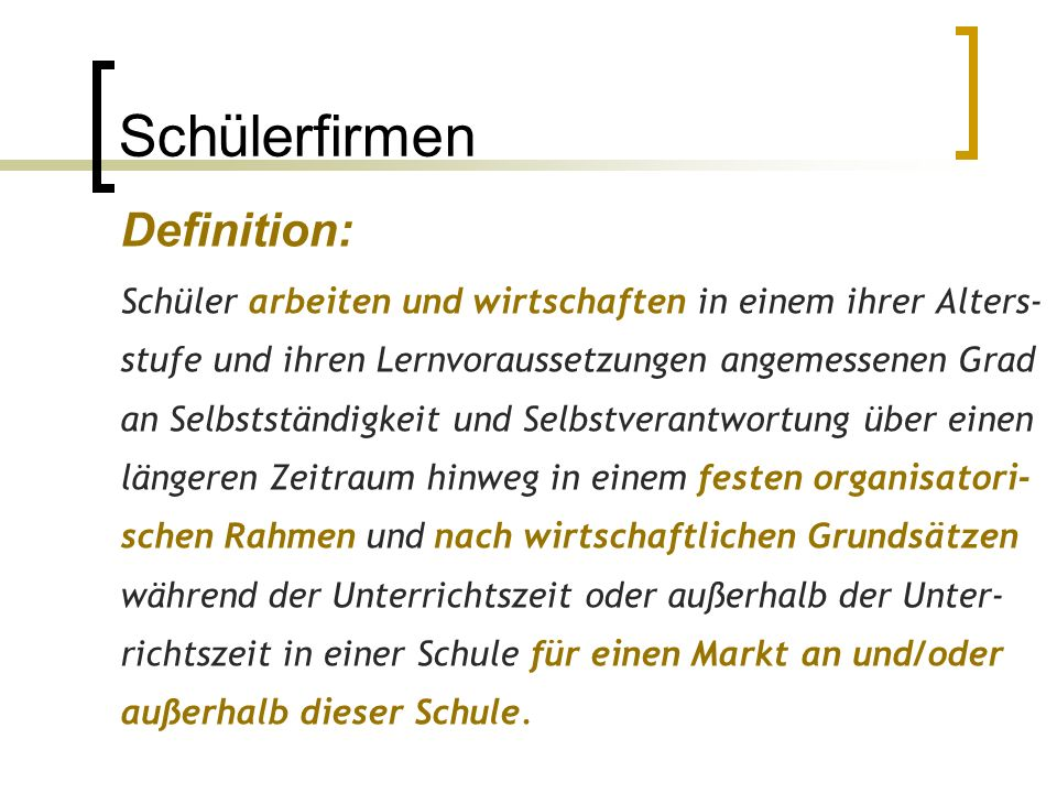 Schülerfirmen Definition: