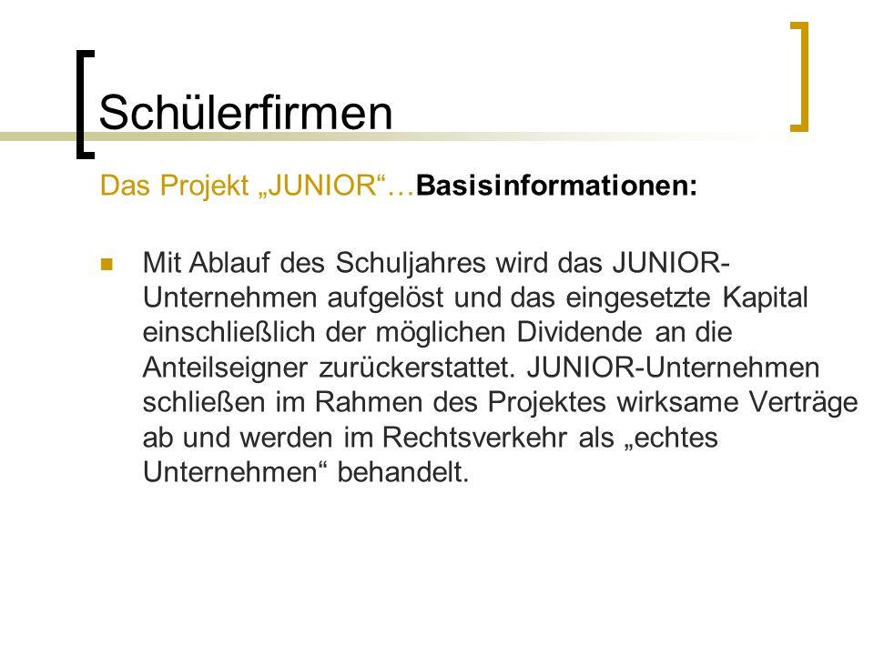 "Schülerfirmen Das Projekt ""JUNIOR …Basisinformationen:"