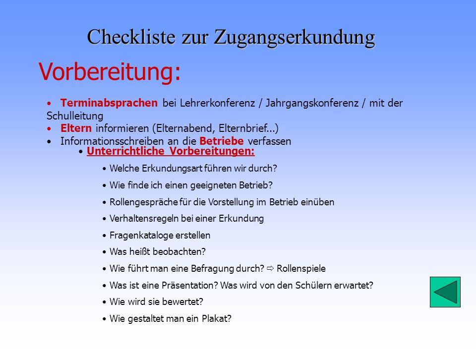 Checkliste zur Zugangserkundung