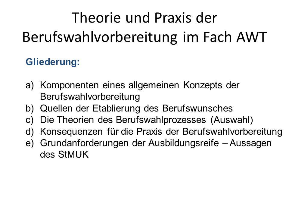 Theorie und Praxis der Berufswahlvorbereitung im Fach AWT