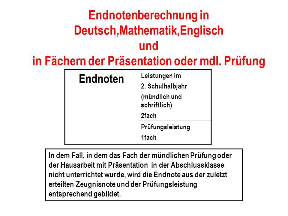 Endnotenberechnung in Deutsch,Mathematik,Englisch und