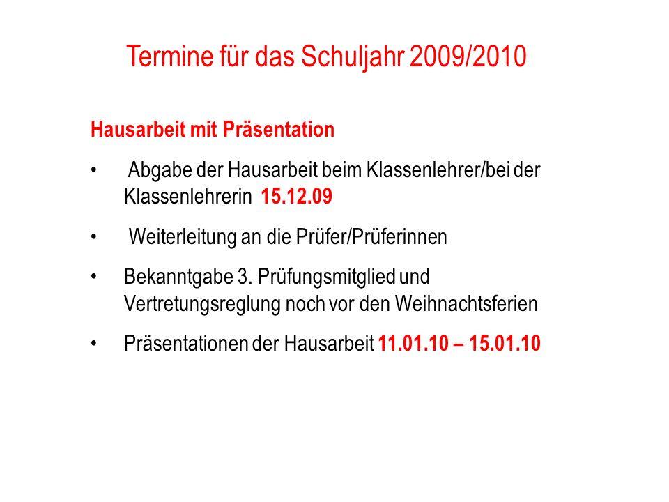 Termine für das Schuljahr 2009/2010