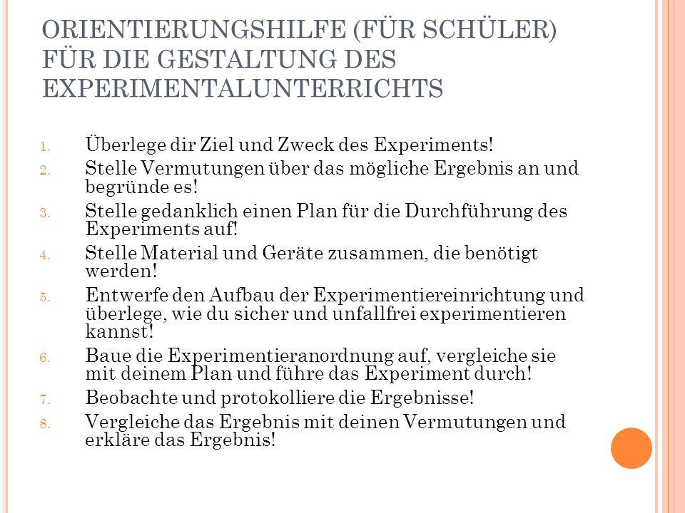 ORIENTIERUNGSHILFE (FÜR SCHÜLER) FÜR DIE GESTALTUNG DES EXPERIMENTALUNTERRICHTS