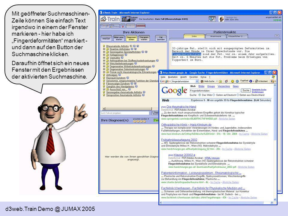 """Mit geöffneter Suchmaschinen-Zeile können Sie einfach Text irgendwo in einem der Fenster markieren - hier habe ich """"Fingerdeformitäten markiert - und dann auf den Button der Suchmaschine klicken."""