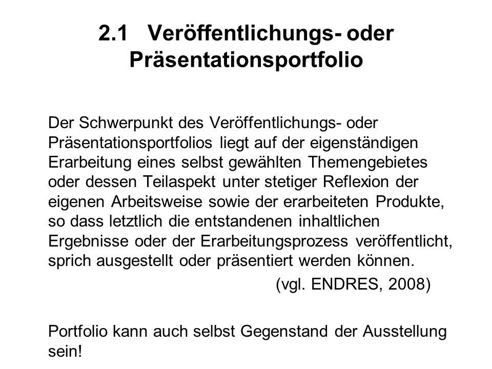 2.1 Veröffentlichungs- oder Präsentationsportfolio