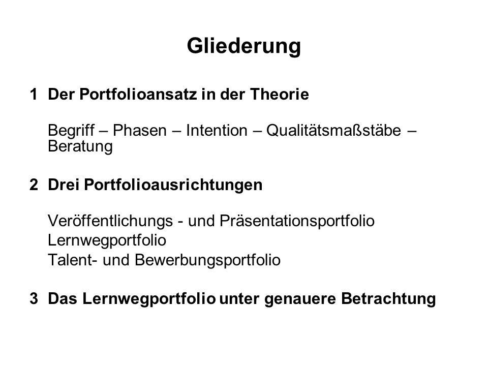 Gliederung 1 Der Portfolioansatz in der Theorie