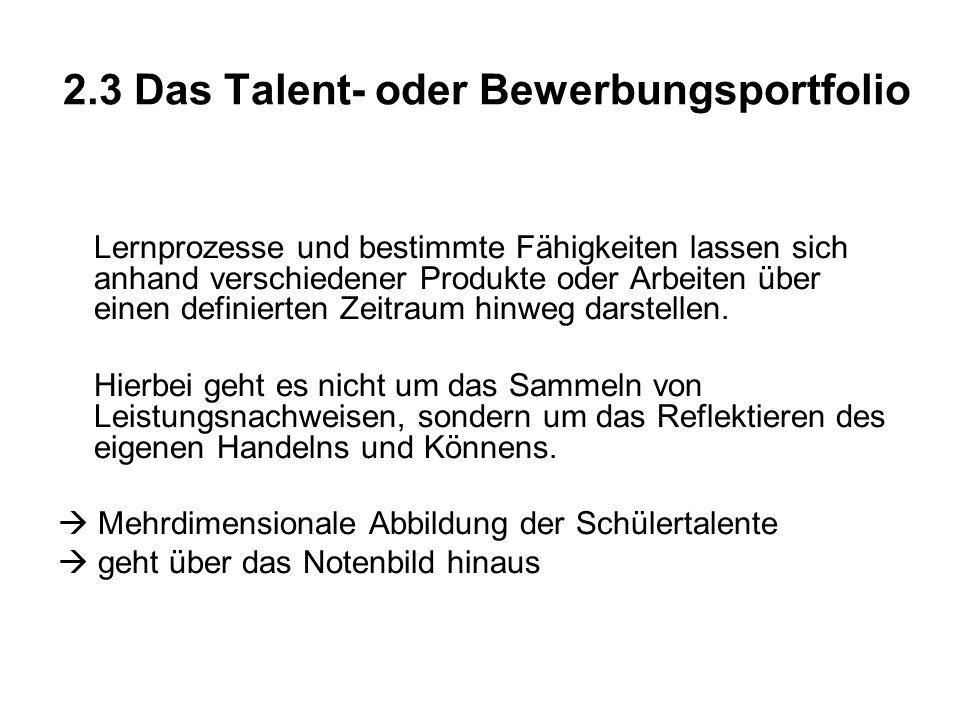 2.3 Das Talent- oder Bewerbungsportfolio