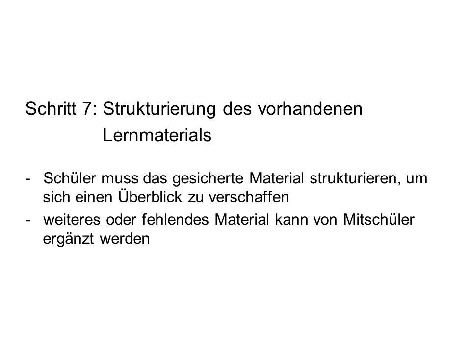 Schritt 7: Strukturierung des vorhandenen Lernmaterials