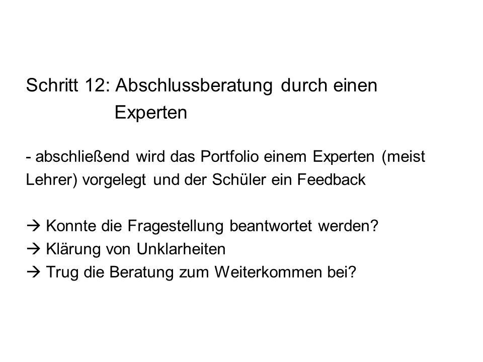 Schritt 12: Abschlussberatung durch einen Experten