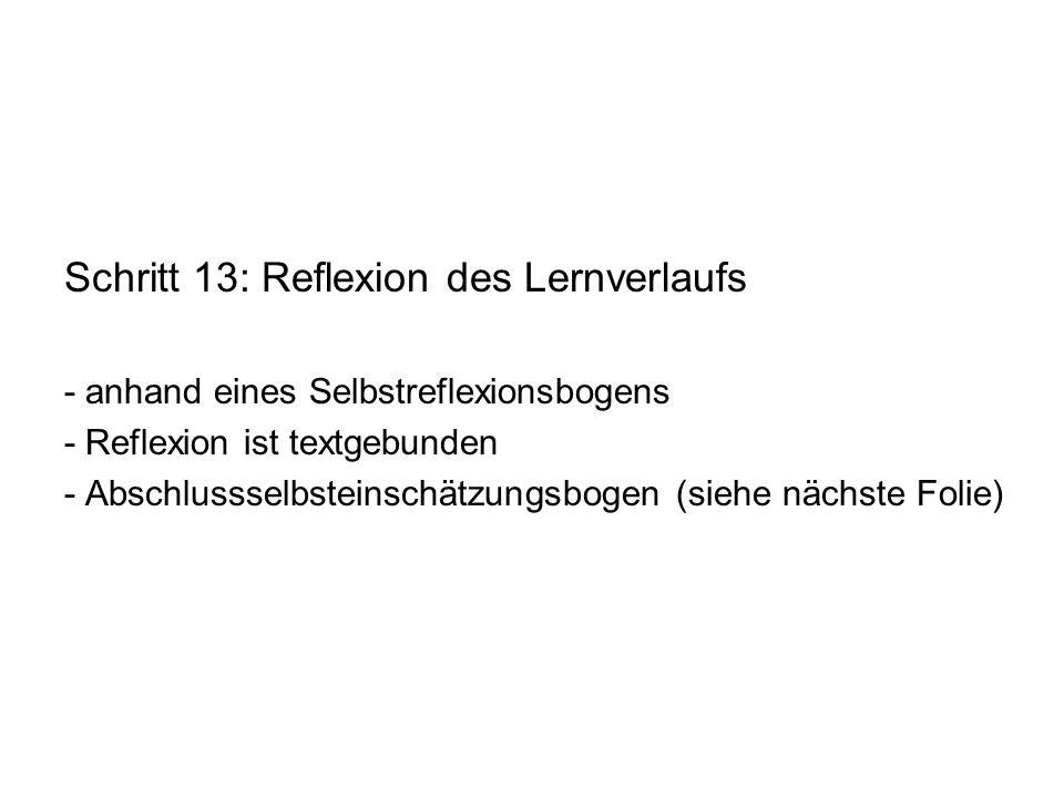 Schritt 13: Reflexion des Lernverlaufs
